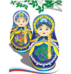 Russian nesting dolls in the blue dress vector