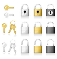 set of realistic key and padlock icons vector image