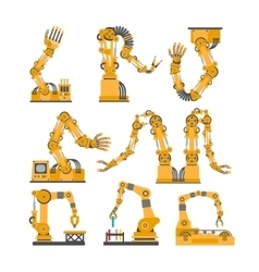 Set of robotic arms hands robot icons set vector image vector image