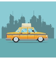 Taxi car new york side view town background vector