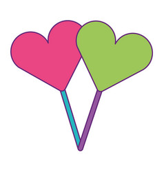 Two hearts shape lollipop with stick sweet vector
