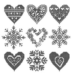 Set patchwork knitted vector