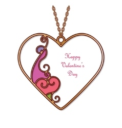 Gold pendant in the shape of heart vector