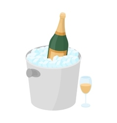 Champagne bottle in an ice bucket icon in cartoon vector image