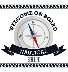 nautical frame with compass vector image