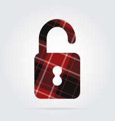 Red black tartan isolated icon - open padlock vector