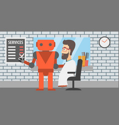 Robot barber making haircut to a hipster man vector