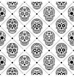 halloween seamless pattern mexican sugar skull vector image