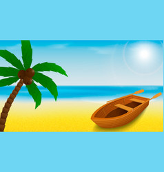 Summer beach template with rowing boat and palm vector