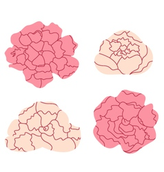Peony pastel flowers collection isolated on white vector