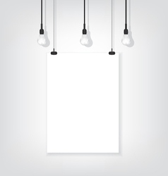 White poster on wall and bulb vector