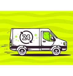 Van free and fast delivering 24 hours to vector