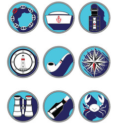 Nautical elements iv icons in knottet circle vector