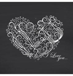 Love you blackboard background vector