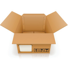 Open empty cardboard box vector