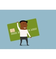 Businessman going with credit card in hands vector
