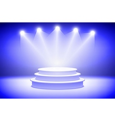 3d presentation podium with sparkling spot lights vector