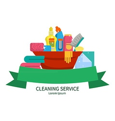 Set of items for cleaning home vector