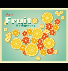 Retro fruit background with oranges vector