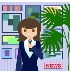 Woman journalist with microphone is a news service vector