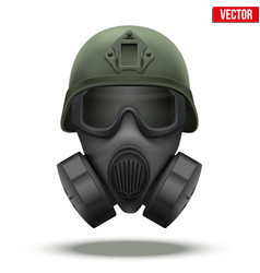 Military tactical helmet with gas mask vector