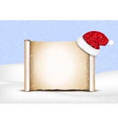 Blank paper with Santa Hat on a winter christmas vector image