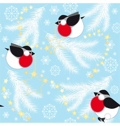 Blue christmas background with bullfinches vector image