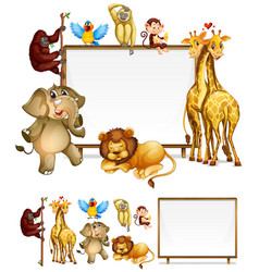 Board template with wild animals vector