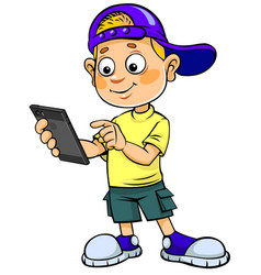 boy with smartphone vector image vector image