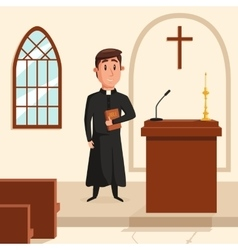 Christian catholic priest preaching at church vector