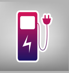 Electric car charging station sign purple vector