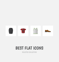 Flat icon clothes set of male footware singlet vector