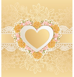 Greeting card with heart shape vector image vector image