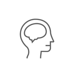Human head with brain line icon vector image vector image