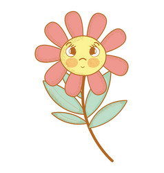 Kawaii flower plant surprised face and eyes vector