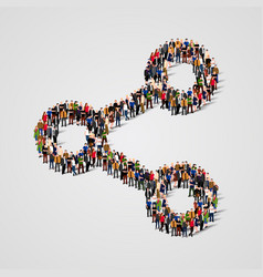 large group of people in the share sign shape vector image