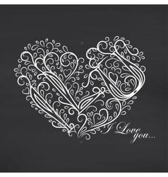 Love you Blackboard background vector image vector image