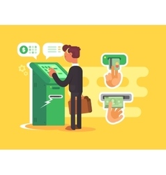 Man takes cash from ATM vector image vector image