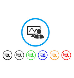 Online trader rounded icon vector