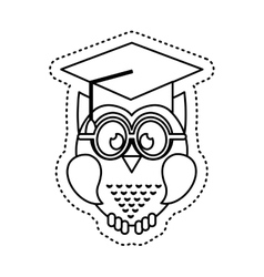 Owl with graduation hat icon vector
