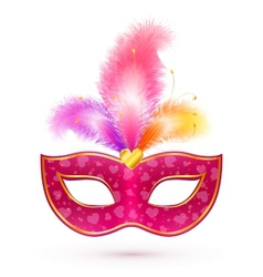 Pink carnival mask with feathers vector