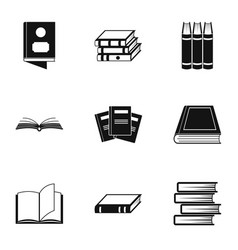 Reference icons set simple style vector