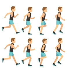 Running athletic man in tracksuit animation frame vector
