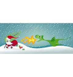 santa claus and the dragon vector image vector image