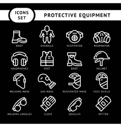 Set line icons of protecting equipment vector image