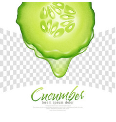Slice of cucumber with a transparent dripping vector