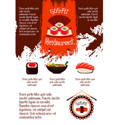 Sushi restaurant poster template vector