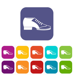 Tango shoe icons set flat vector