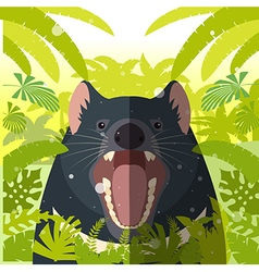 Tasmanian devil on the jungle background vector