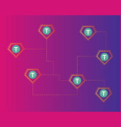 Tether cryptocurrency colorful background style vector